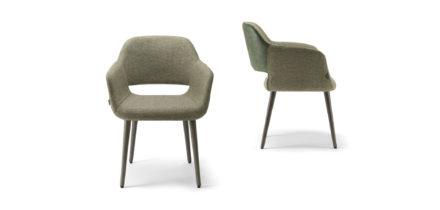 Magda 02 stoelen bekleed groen